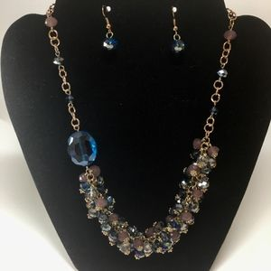 Blue & Purple Crystal Gold Necklace and Earrings